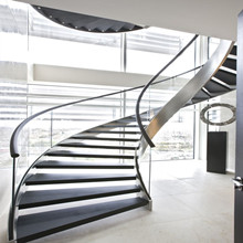 Helical Wooden Staircase with Glass Railing PR-C03