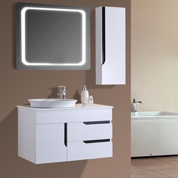 Australia Simple Style White Lacquer Bathroom Vanity Cabinet