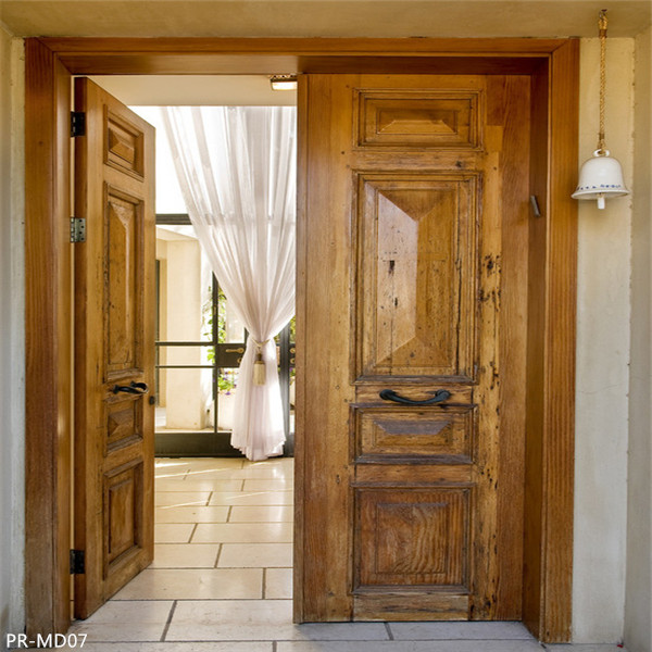 Solid wood entrance door with Art glass