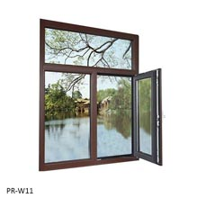 Double swing window with top fixed glass pane
