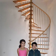 German Clients Customized LED Light Wooden Spiral Staircase