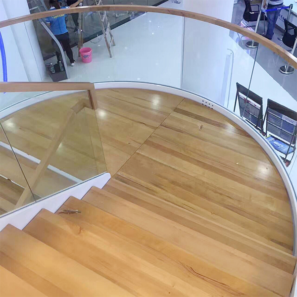 Guangzhou Shopping Mall Glass Railing Wood Treads Staircase Project
